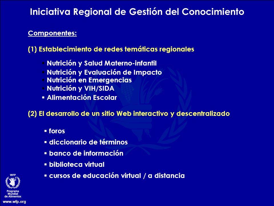 www.wfp.org (1) Establecimiento de redes temáticas regionales Componentes: (2) El desarrollo de un sitio Web interactivo y descentralizado foros dicci