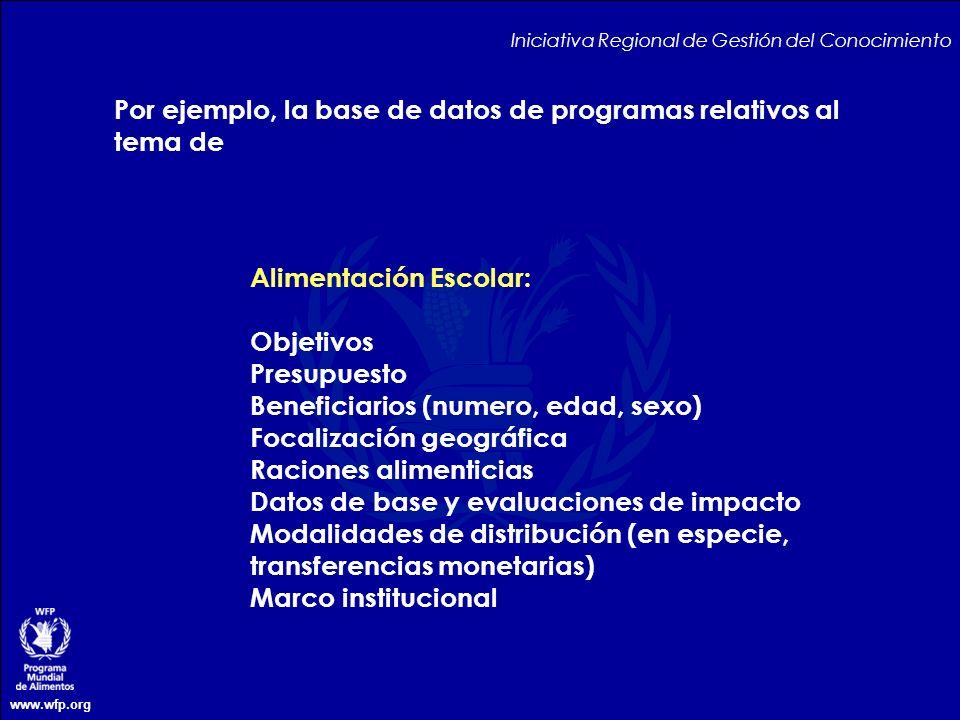 www.wfp.org Por ejemplo, la base de datos de programas relativos al tema de Iniciativa Regional de Gestión del Conocimiento Alimentación Escolar: Obje