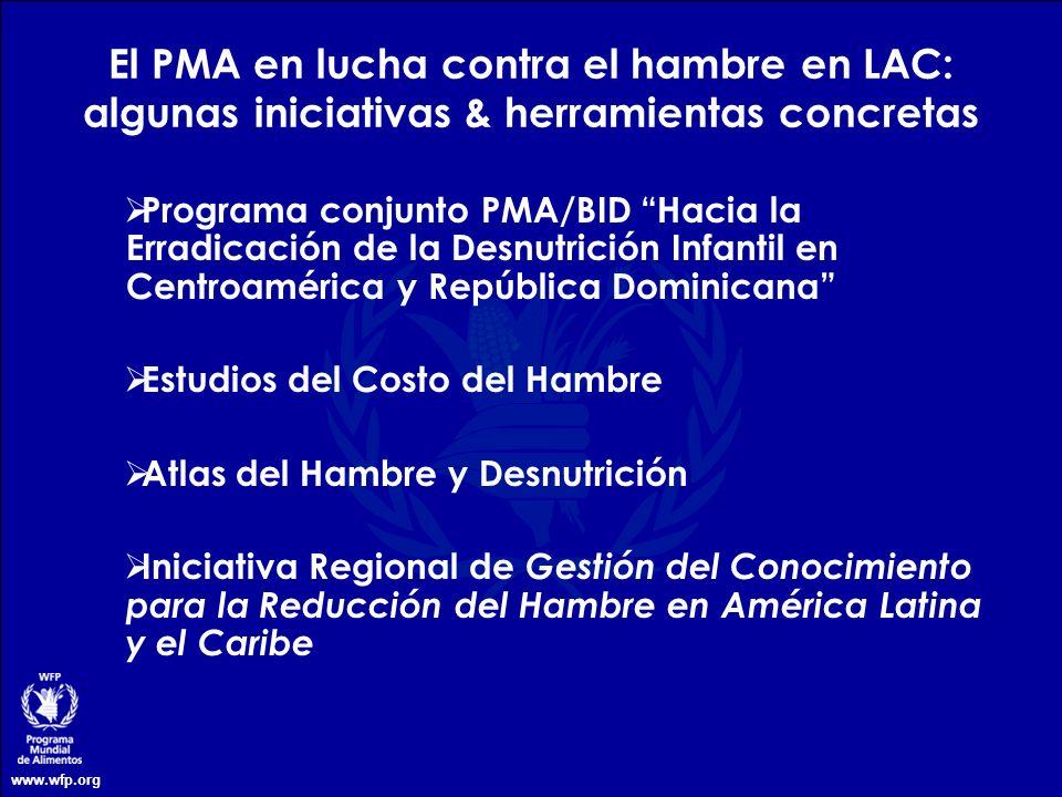 www.wfp.org Programa conjunto PMA/BID Hacia la Erradicación de la Desnutrición Infantil en Centroamérica y República Dominicana Estudios del Costo del