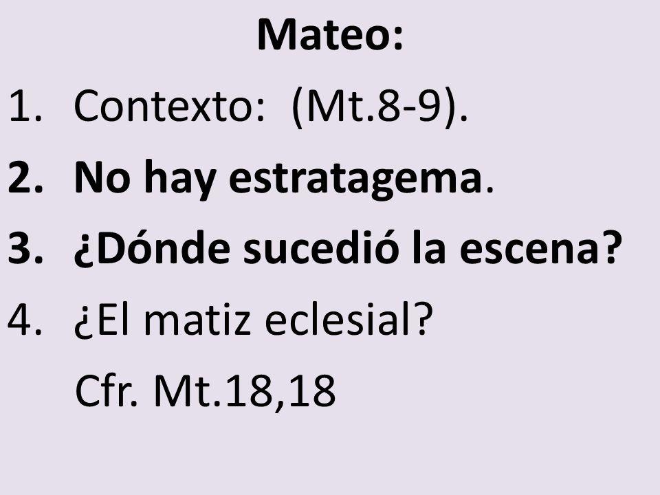 Mateo: 1.Contexto: (Mt.8-9). 2.No hay estratagema. 3.¿Dónde sucedió la escena? 4.¿El matiz eclesial? Cfr. Mt.18,18