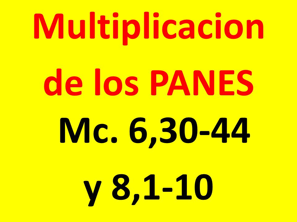 Multiplicacion de los PANES Mc. 6,30-44 y 8,1-10