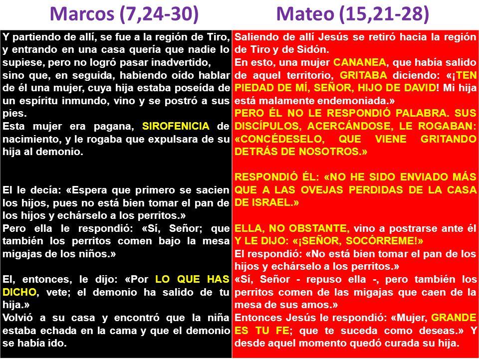 Marcos (7,24-30) Mateo (15,21-28) Y partiendo de allí, se fue a la región de Tiro, y entrando en una casa quería que nadie lo supiese, pero no logró p