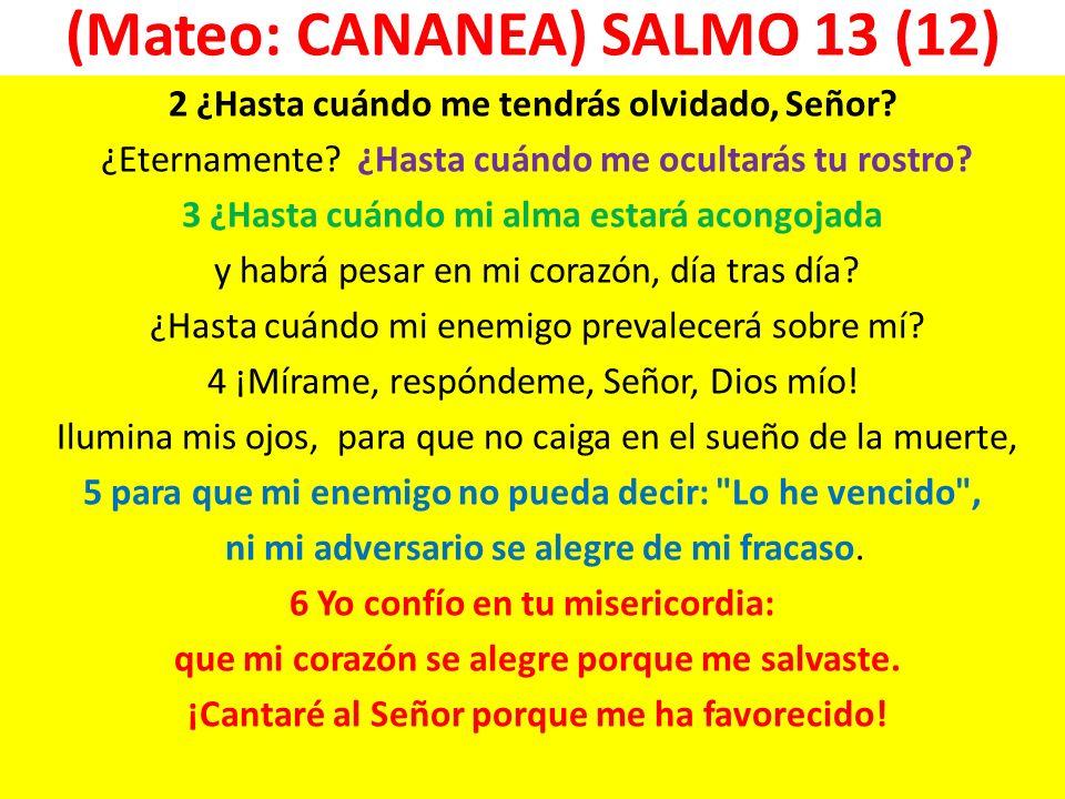 (Mateo: CANANEA) SALMO 13 (12) 2 ¿Hasta cuándo me tendrás olvidado, Señor? ¿Eternamente? ¿Hasta cuándo me ocultarás tu rostro? 3 ¿Hasta cuándo mi alma
