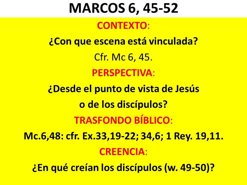 MARCOS 6, 45-52 CONTEXTO: ¿Con que escena está vinculada? Cfr. Mc 6, 45. PERSPECTIVA: ¿Desde el punto de vista de Jesús o de los discípulos? TRASFONDO