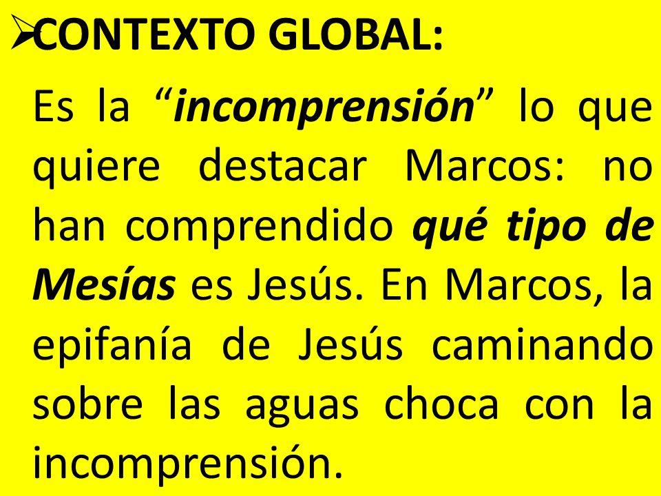 CONTEXTO GLOBAL: Es la incomprensión lo que quiere destacar Marcos: no han comprendido qué tipo de Mesías es Jesús. En Marcos, la epifanía de Jesús ca