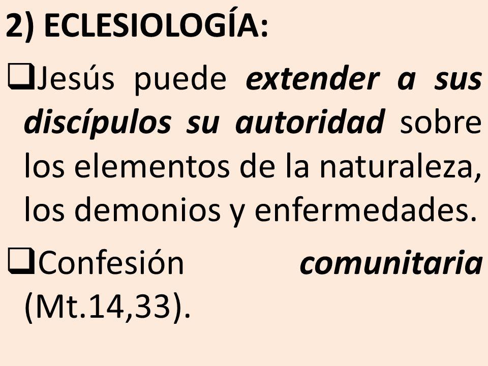 2) ECLESIOLOGÍA: Jesús puede extender a sus discípulos su autoridad sobre los elementos de la naturaleza, los demonios y enfermedades. Confesión comun