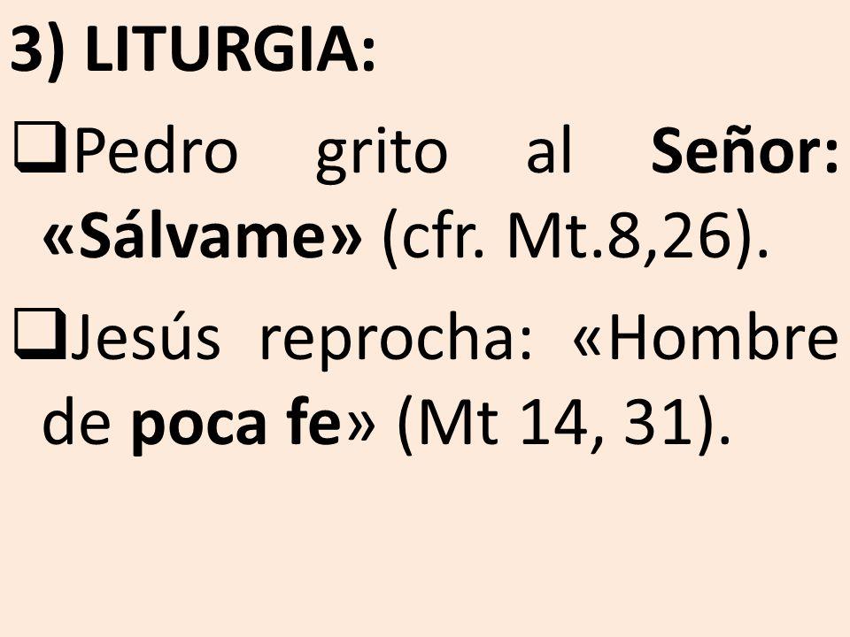 3) LITURGIA: Pedro grito al Señor: «Sálvame» (cfr. Mt.8,26). Jesús reprocha: «Hombre de poca fe» (Mt 14, 31).
