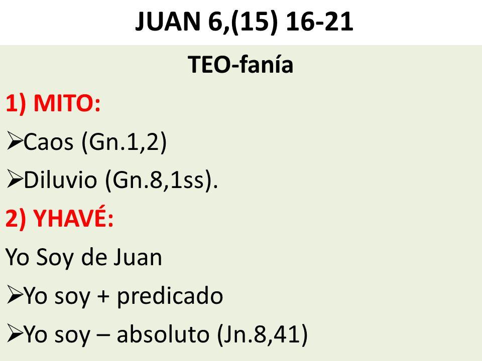 JUAN 6,(15) 16-21 TEO-fanía 1) MITO: Caos (Gn.1,2) Diluvio (Gn.8,1ss). 2) YHAVÉ: Yo Soy de Juan Yo soy + predicado Yo soy – absoluto (Jn.8,41)