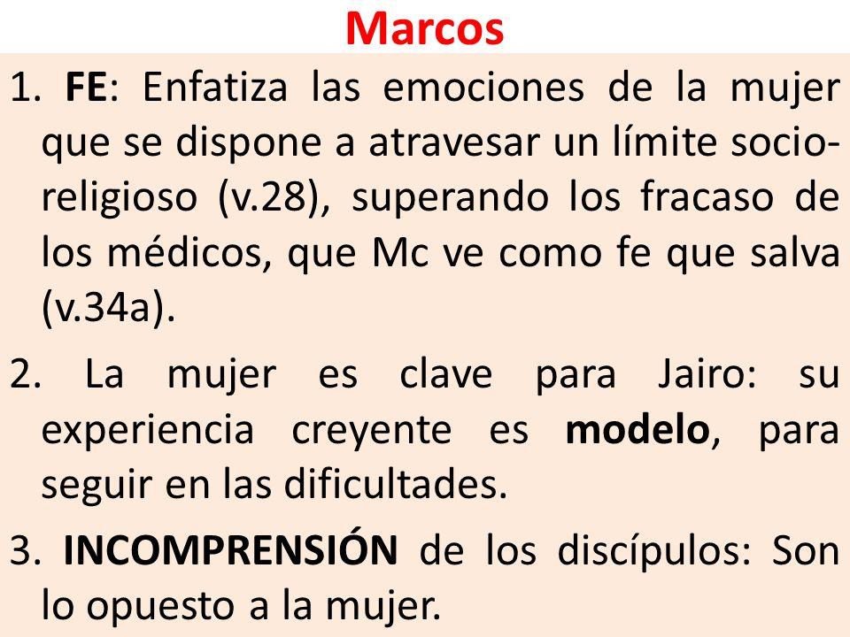 Marcos 1. FE: Enfatiza las emociones de la mujer que se dispone a atravesar un límite socio- religioso (v.28), superando los fracaso de los médicos, q