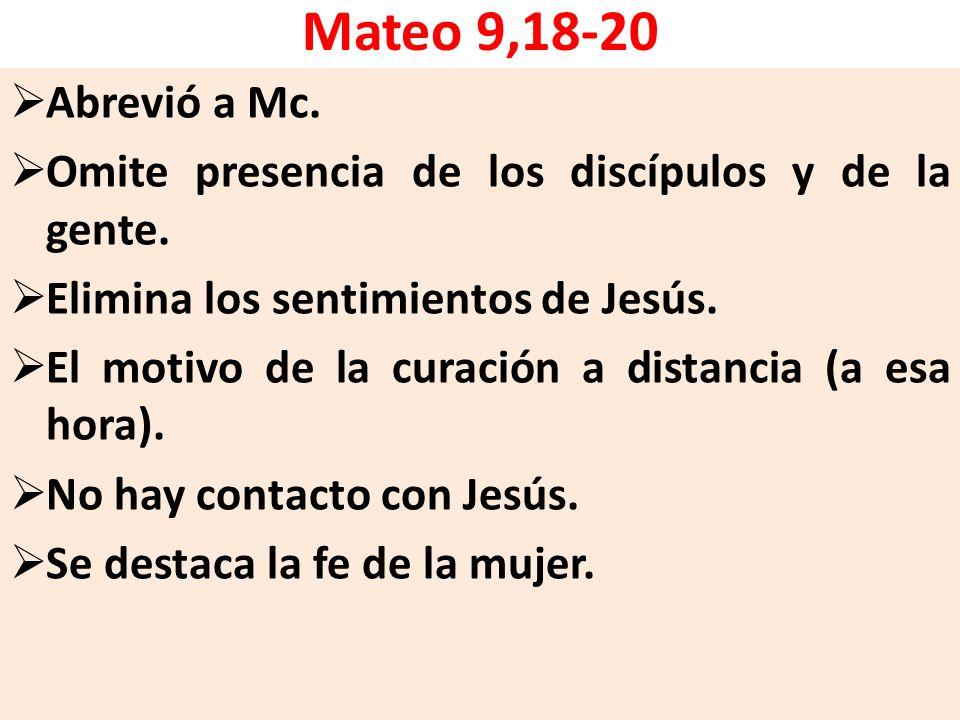 Mateo 9,18-20 Abrevió a Mc. Omite presencia de los discípulos y de la gente. Elimina los sentimientos de Jesús. El motivo de la curación a distancia (