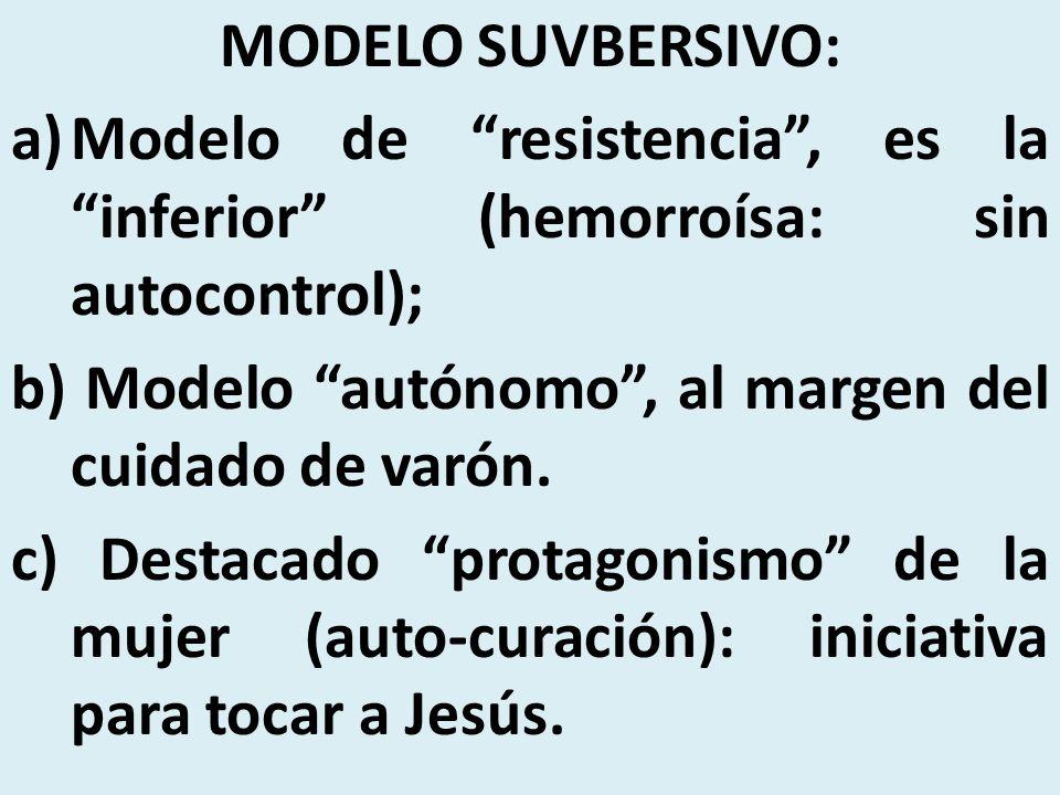 MODELO SUVBERSIVO: a)Modelo de resistencia, es la inferior (hemorroísa: sin autocontrol); b) Modelo autónomo, al margen del cuidado de varón. c) Desta
