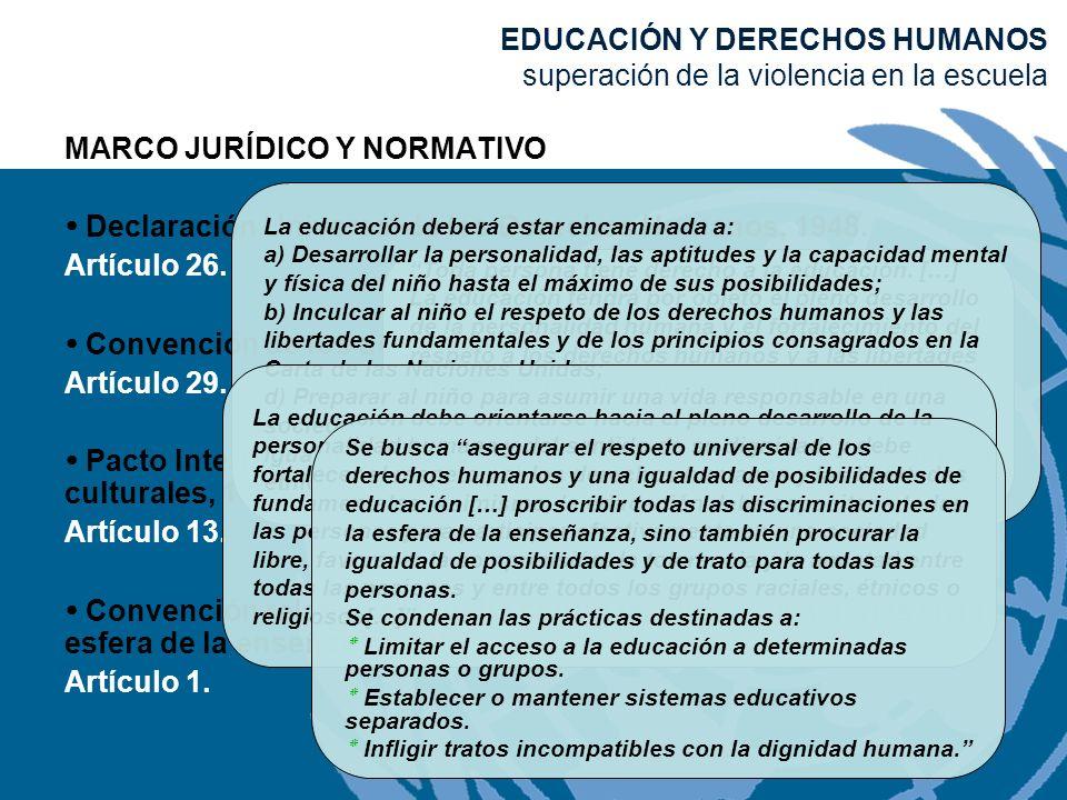 MARCO JURÍDICO Y NORMATIVO Declaración Universal de los Derechos Humanos, 1948. Artículo 26. Convención de los derechos del niño, 1989. Artículo 29. P