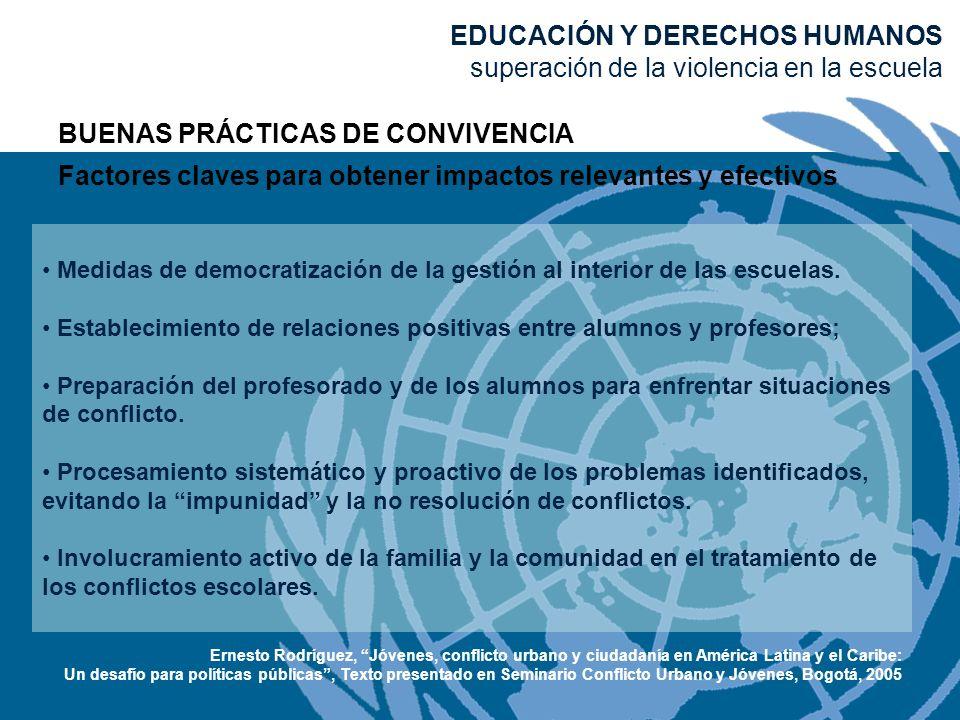 BUENAS PRÁCTICAS DE CONVIVENCIA Factores claves para obtener impactos relevantes y efectivos Medidas de democratización de la gestión al interior de l
