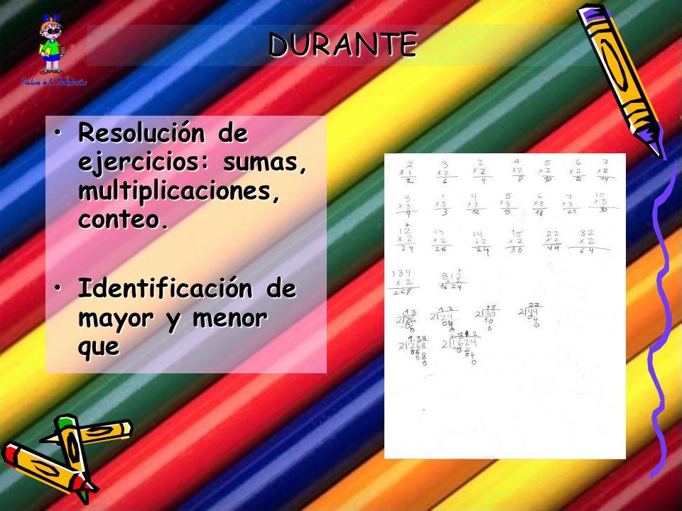 ANTES Ejercicios matemáticos con material didáctico (fichas, monedas).Ejercicios matemáticos con material didáctico (fichas, monedas). Practicar el co