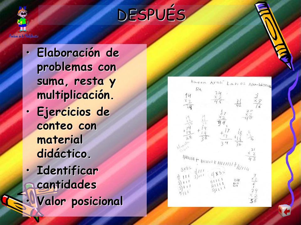 DURANTE Resolución de ejercicios: sumas, multiplicaciones, conteo.Resolución de ejercicios: sumas, multiplicaciones, conteo. Identificación de mayor y