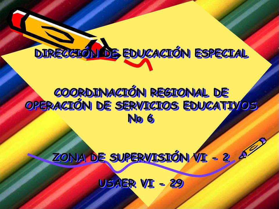DIRECCIÓN DE EDUCACIÓN ESPECIAL COORDINACIÓN REGIONAL DE OPERACIÓN DE SERVICIOS EDUCATIVOS No 6 ZONA DE SUPERVISIÓN VI - 2 USAER VI - 29 DIRECCIÓN DE EDUCACIÓN ESPECIAL COORDINACIÓN REGIONAL DE OPERACIÓN DE SERVICIOS EDUCATIVOS No 6 ZONA DE SUPERVISIÓN VI - 2 USAER VI - 29