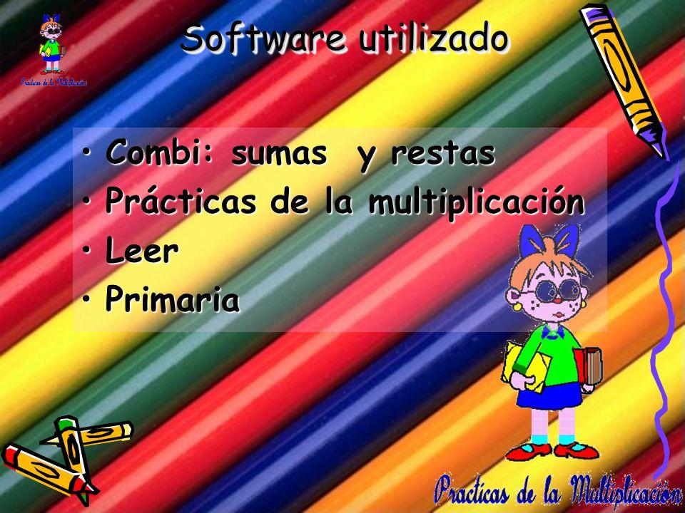 Software utilizado Combi: sumas y restasCombi: sumas y restas Prácticas de la multiplicaciónPrácticas de la multiplicación LeerLeer PrimariaPrimaria