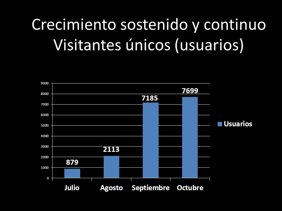 Crecimiento sostenido y continuo Visitantes únicos (usuarios)