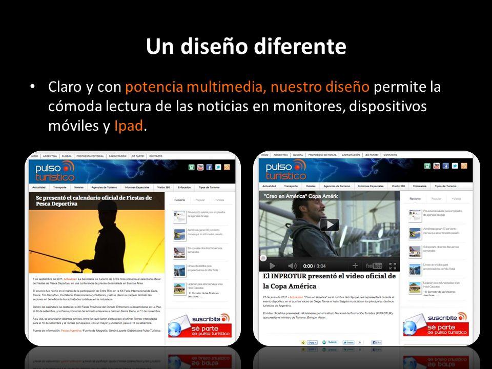 Un diseño diferente Claro y con potencia multimedia, nuestro diseño permite la cómoda lectura de las noticias en monitores, dispositivos móviles y Ipa