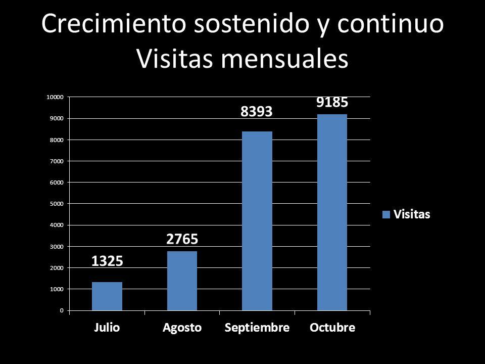 Crecimiento sostenido y continuo Visitas mensuales