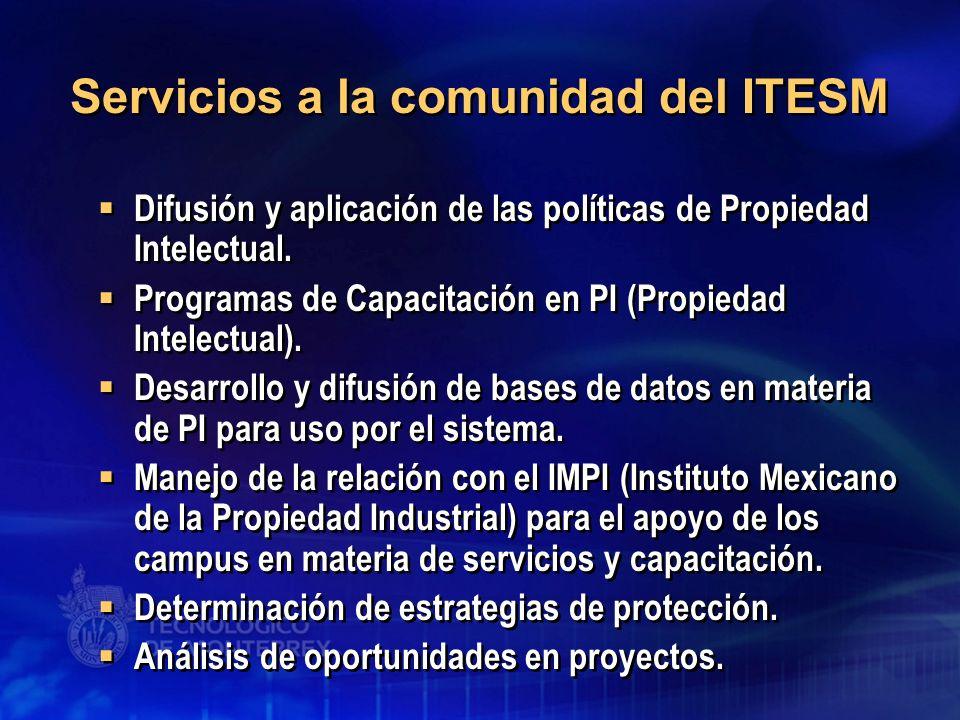 Servicios a la comunidad del ITESM Difusión y aplicación de las políticas de Propiedad Intelectual. Programas de Capacitación en PI (Propiedad Intelec