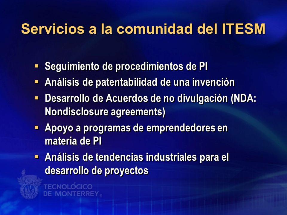 Seguimiento de procedimientos de PI Análisis de patentabilidad de una invención Desarrollo de Acuerdos de no divulgación (NDA: Nondisclosure agreement