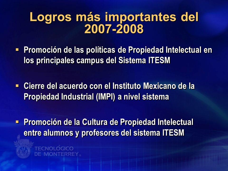 Logros más importantes del 2007-2008 Promoción de las políticas de Propiedad Intelectual en los principales campus del Sistema ITESM Cierre del acuerd