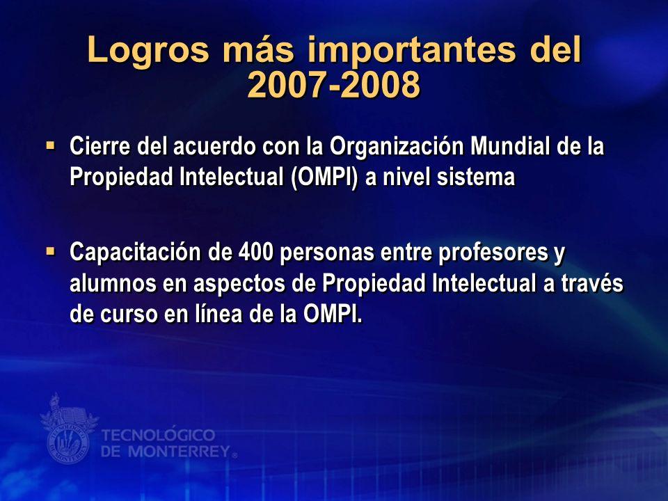 Logros más importantes del 2007-2008 Cierre del acuerdo con la Organización Mundial de la Propiedad Intelectual (OMPI) a nivel sistema Capacitación de