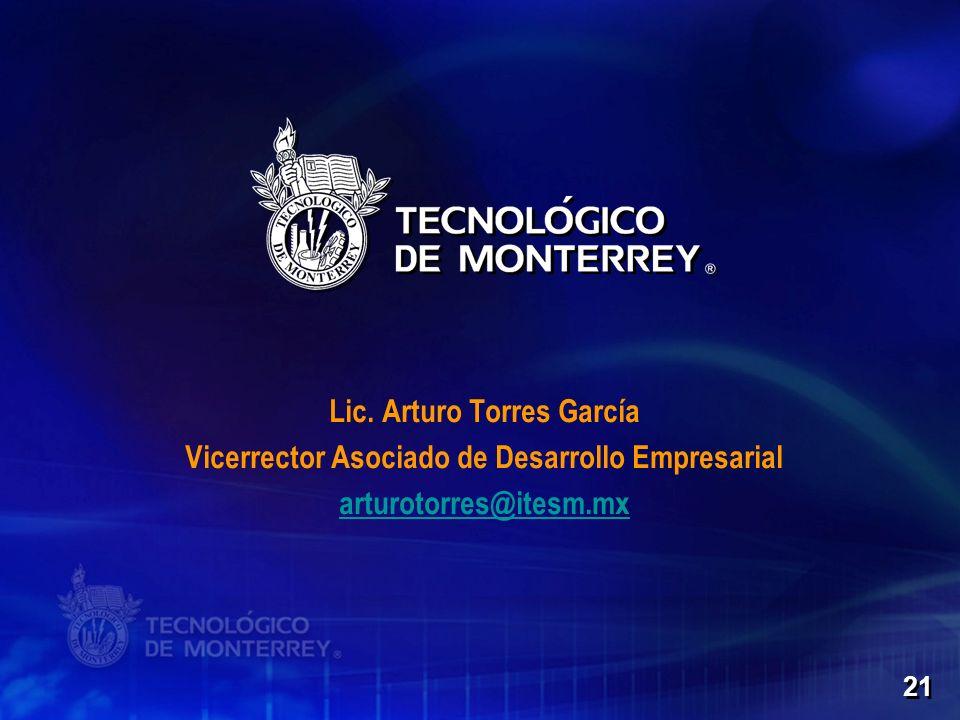 21 Lic. Arturo Torres García Vicerrector Asociado de Desarrollo Empresarial arturotorres@itesm.mx