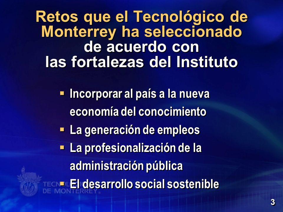 Retos que el Tecnológico de Monterrey ha seleccionado de acuerdo con las fortalezas del Instituto Incorporar al país a la nueva economía del conocimie