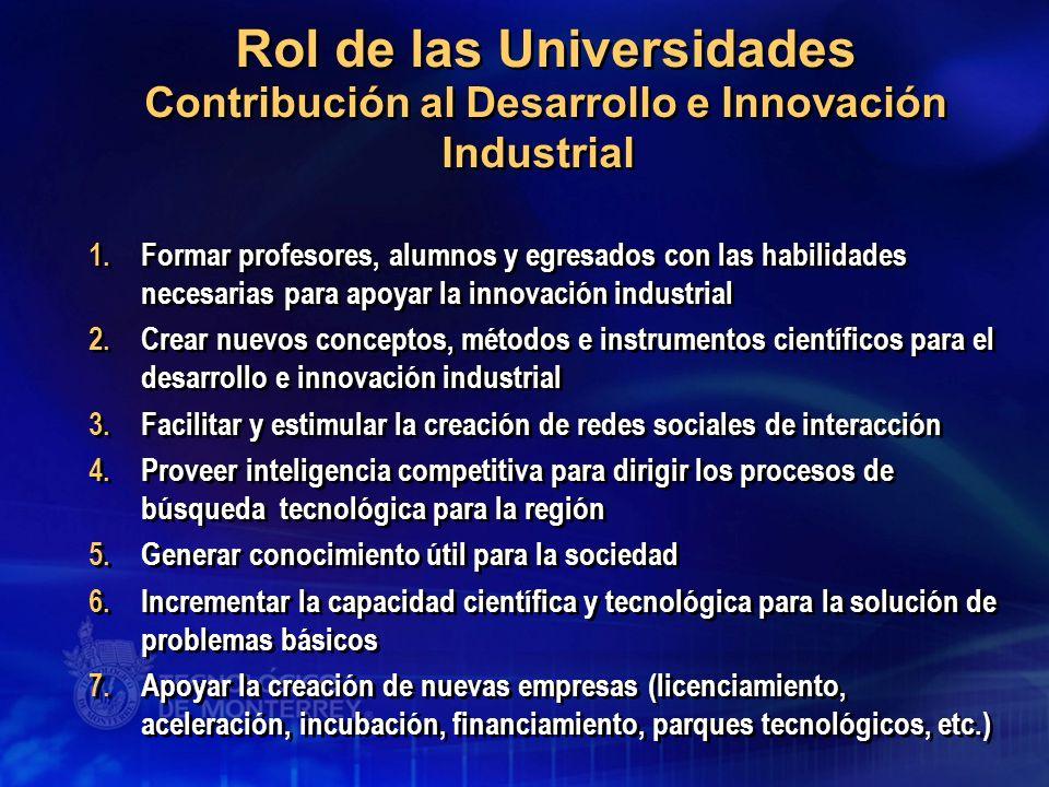 1.Formar profesores, alumnos y egresados con las habilidades necesarias para apoyar la innovación industrial 2.Crear nuevos conceptos, métodos e instr