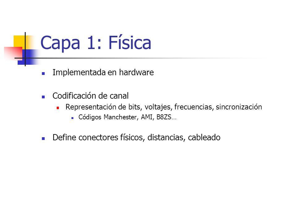 Capa 1: Física Implementada en hardware Codificación de canal Representación de bits, voltajes, frecuencias, sincronización Códigos Manchester, AMI, B
