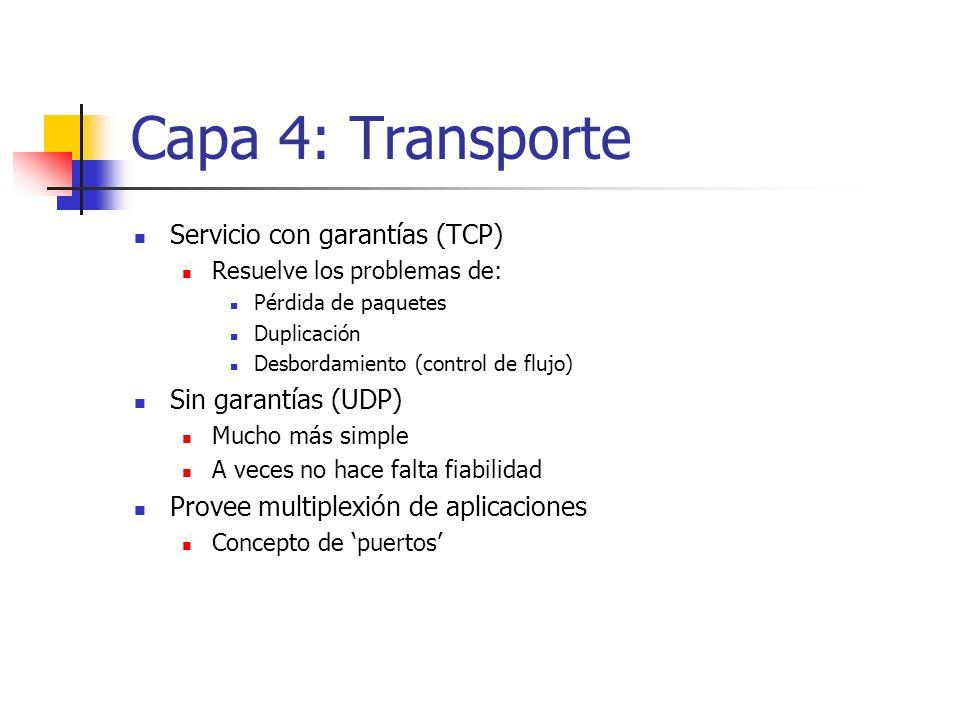 Capa 4: Transporte Servicio con garantías (TCP) Resuelve los problemas de: Pérdida de paquetes Duplicación Desbordamiento (control de flujo) Sin garan