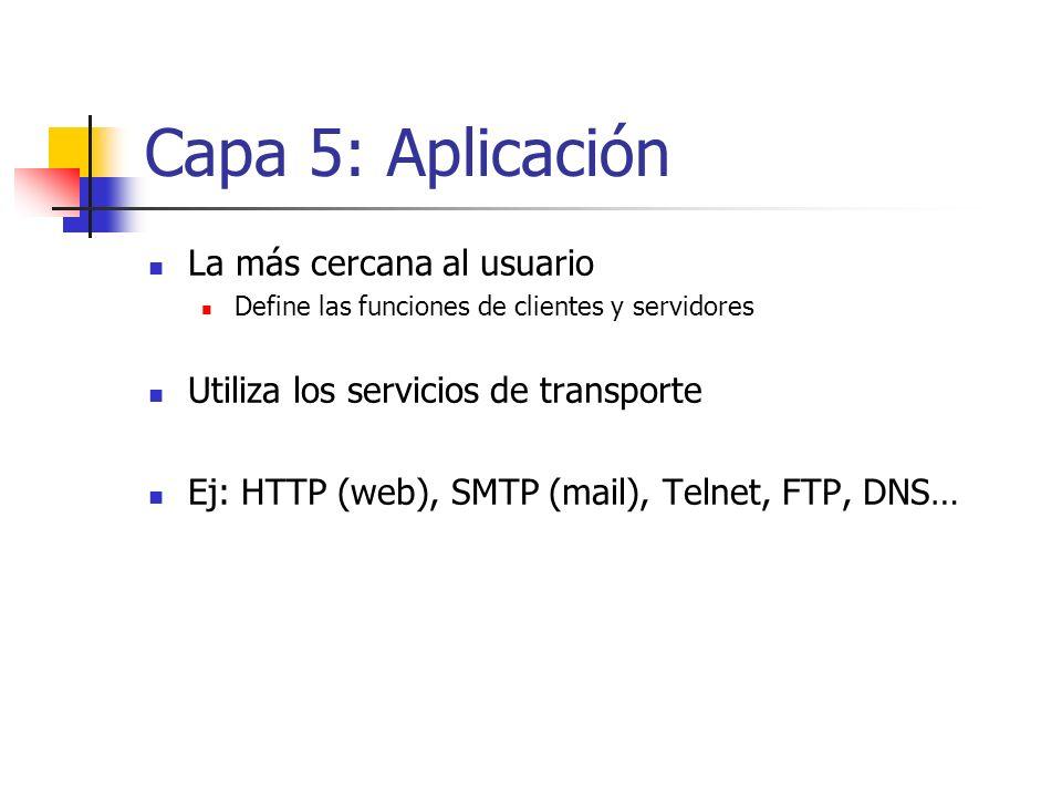 Capa 5: Aplicación La más cercana al usuario Define las funciones de clientes y servidores Utiliza los servicios de transporte Ej: HTTP (web), SMTP (m
