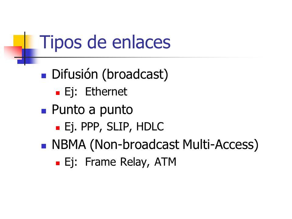 Tipos de enlaces Difusión (broadcast) Ej: Ethernet Punto a punto Ej. PPP, SLIP, HDLC NBMA (Non-broadcast Multi-Access) Ej: Frame Relay, ATM