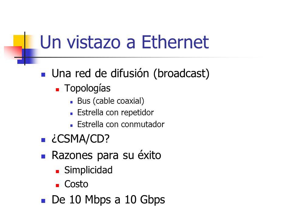 Un vistazo a Ethernet Una red de difusión (broadcast) Topologías Bus (cable coaxial) Estrella con repetidor Estrella con conmutador ¿CSMA/CD? Razones