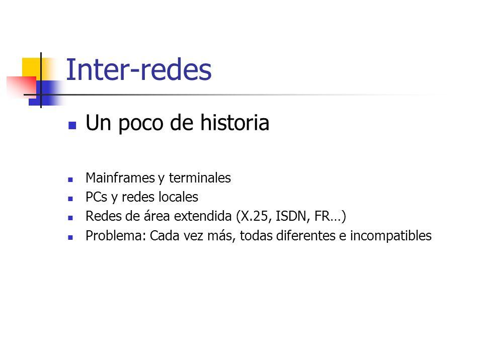 Inter-redes Un poco de historia Mainframes y terminales PCs y redes locales Redes de área extendida (X.25, ISDN, FR…) Problema: Cada vez más, todas di