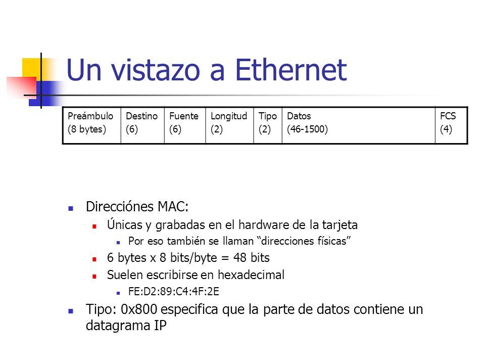 Un vistazo a Ethernet Preámbulo (8 bytes) Destino (6) Fuente (6) Longitud (2) Tipo (2) Datos (46-1500) FCS (4) Direcciónes MAC: Únicas y grabadas en e