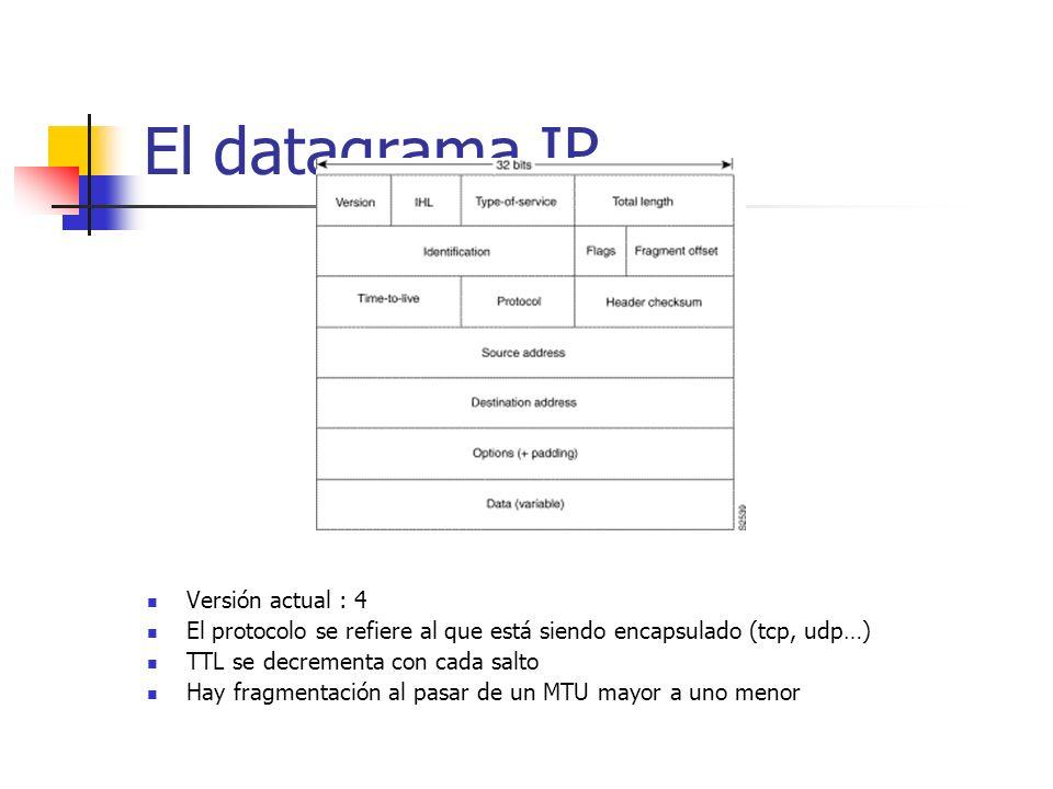El datagrama IP Versión actual : 4 El protocolo se refiere al que está siendo encapsulado (tcp, udp…) TTL se decrementa con cada salto Hay fragmentaci