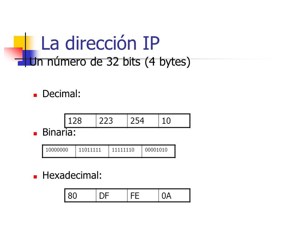 La dirección IP Un número de 32 bits (4 bytes) Decimal: Binaria: Hexadecimal: 12822325410 80DFFE0A 10000000110111111111111000001010