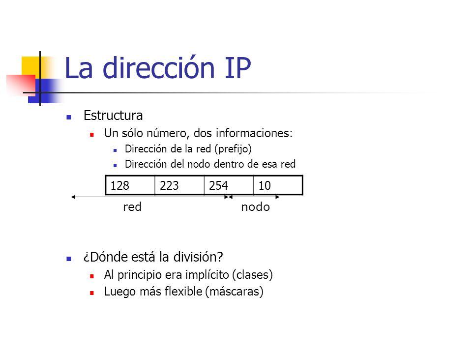 La dirección IP Estructura Un sólo número, dos informaciones: Dirección de la red (prefijo) Dirección del nodo dentro de esa red ¿Dónde está la divisi