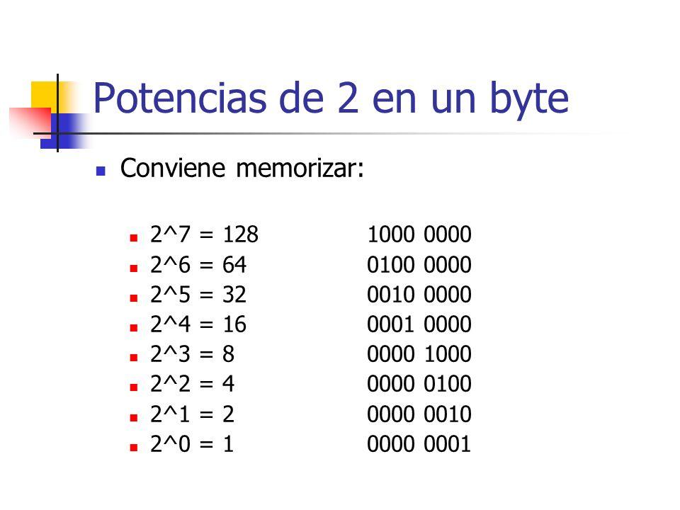 Potencias de 2 en un byte Conviene memorizar: 2^7 = 1281000 0000 2^6 = 640100 0000 2^5 = 320010 0000 2^4 = 160001 0000 2^3 = 80000 1000 2^2 = 40000 01