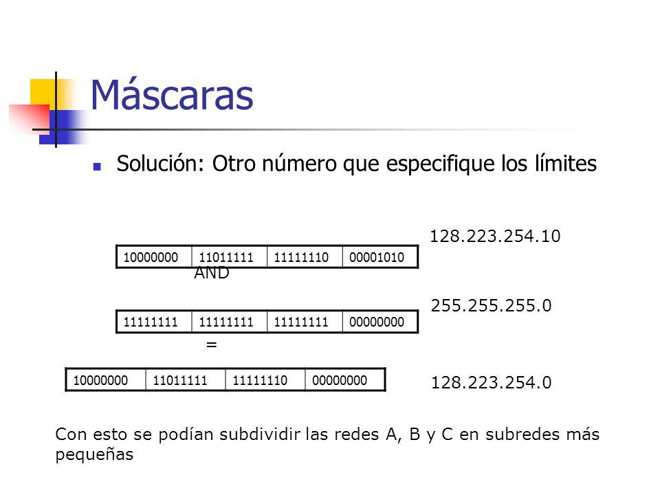 Máscaras Solución: Otro número que especifique los límites 10000000110111111111111000001010 11111111 00000000 AND 10000000110111111111111000000000 = 1