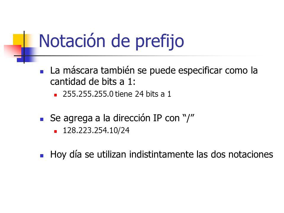 Notación de prefijo La máscara también se puede especificar como la cantidad de bits a 1: 255.255.255.0 tiene 24 bits a 1 Se agrega a la dirección IP