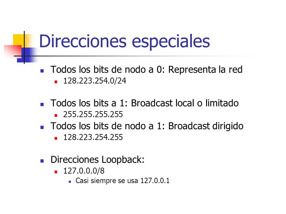 Direcciones especiales Todos los bits de nodo a 0: Representa la red 128.223.254.0/24 Todos los bits a 1: Broadcast local o limitado 255.255.255.255 T
