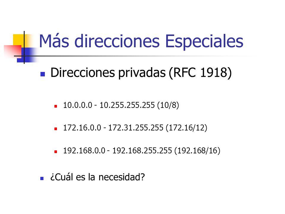 Más direcciones Especiales Direcciones privadas (RFC 1918) 10.0.0.0 - 10.255.255.255 (10/8) 172.16.0.0 - 172.31.255.255 (172.16/12) 192.168.0.0 - 192.