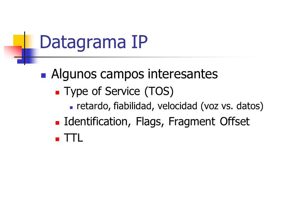 Datagrama IP Algunos campos interesantes Type of Service (TOS) retardo, fiabilidad, velocidad (voz vs. datos) Identification, Flags, Fragment Offset T