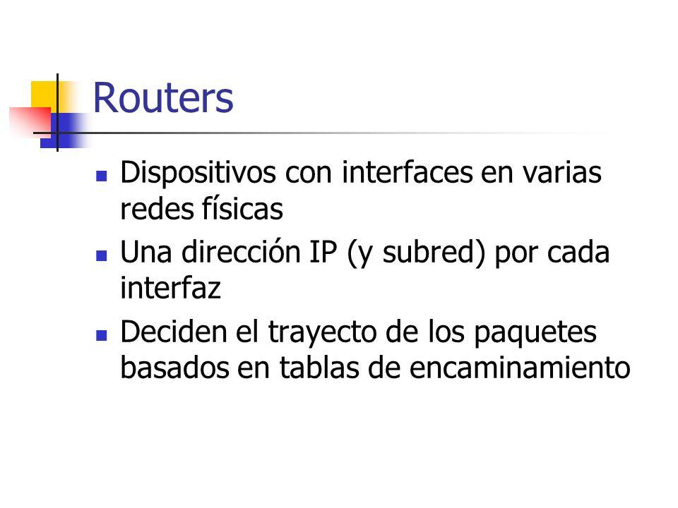 Routers Dispositivos con interfaces en varias redes físicas Una dirección IP (y subred) por cada interfaz Deciden el trayecto de los paquetes basados