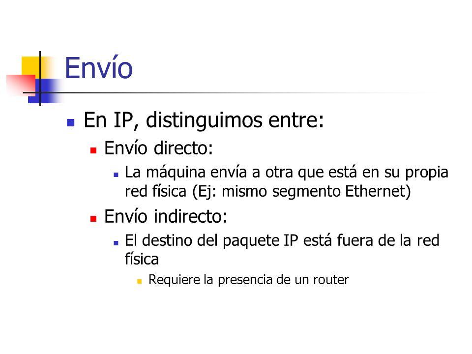 Envío En IP, distinguimos entre: Envío directo: La máquina envía a otra que está en su propia red física (Ej: mismo segmento Ethernet) Envío indirecto