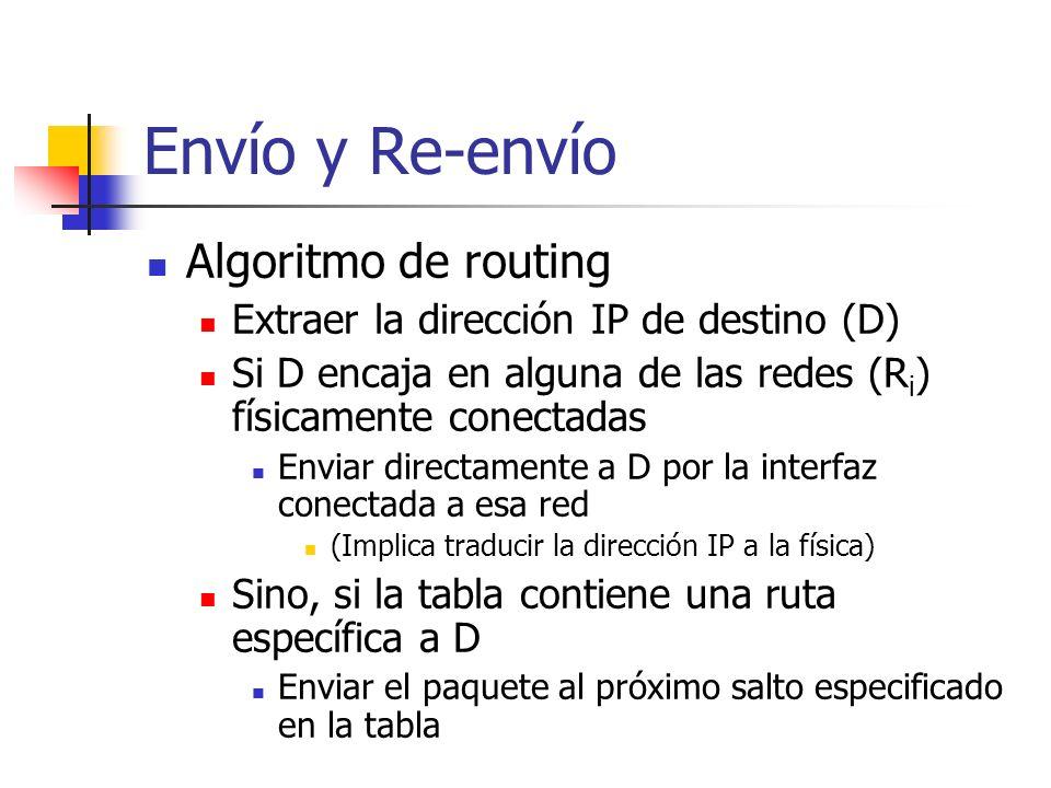 Envío y Re-envío Algoritmo de routing Extraer la dirección IP de destino (D) Si D encaja en alguna de las redes (R i ) físicamente conectadas Enviar d